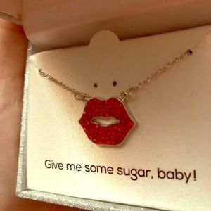 New Red Crystal Lips Necklace.